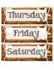 Beach Themed Calendar Days of the Week