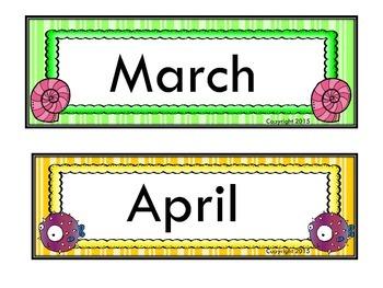 Beach Themed Calendar Headers
