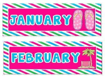 Beach Themed Calendar Set with Pink, Blue & Green Stripes: