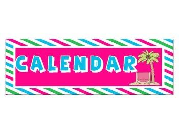 Beach Themed Calendar Set with Pink, Blue & Green Stripes: