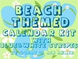 Beach Themed Calendar Set with blue Stripes: