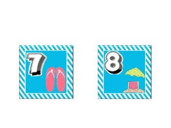Beach Themed Calendar Set with blue Stripes: