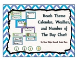 Beach Themed Calendar, Weather, and Number Of The Day
