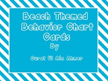 Beach Themed Cards for Behavior Chart With Blue Stripes: