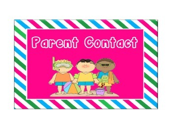 Beach Themed Cards for Behavior Chart with Blue, Pink & Green Stripes: