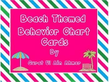 Beach Themed Cards for Behavior Chart with Blue, Pink & Gr