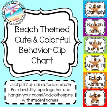 **Beach Themed** Behavior Management Clip Chart {Coloful & Cute with Starfish}