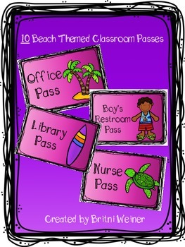 Beach Themed Classroom Passes