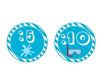 Beach Themed Clock Labels with Blue Stripes: