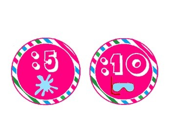 Beach Themed Clock Labels with Pink, Green and Blue Stripes: