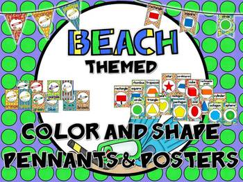 Beach Themed Color and Shape Posters & Pennants