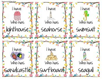 "Beach Themed Compound Words - ""I Have, Who Has?"""