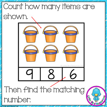 Beach Counting Clip Cards and Worksheets Numbers 1 - 20