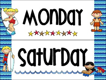 Beach Themed Days of the Week