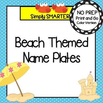 Beach Themed Desk Name Plates with Alphabet and Numbers (1-20)