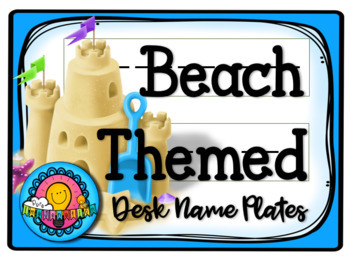 Beach Themed Desk Plates Name Tag Labels