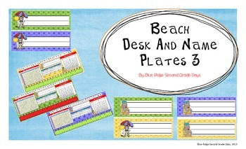 Beach Themed Desk and Name Plates With Cursive