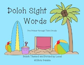 Beach Themed Dolch Sight Words Pre-Primer through Third Grade