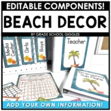 Beach Theme Classroom Decor Editable