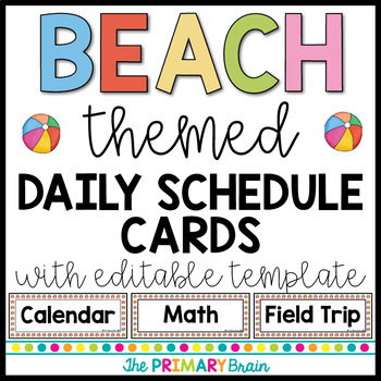 Beach Themed Editable Daily Schedule Cards