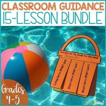Beach Themed Elementary School Counseling Classroom Guidance Lessons Bundle