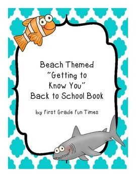 """Beach Themed """"Getting to Know You"""" Back to School Book"""