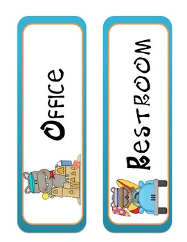 Beach Themed Hall Passes and Basket Labels