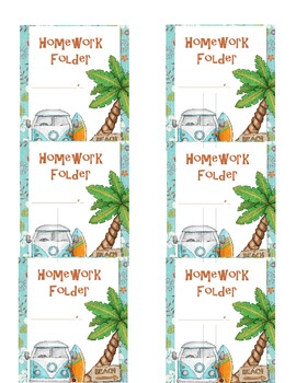 Beach Themed Homework Folder Stickers