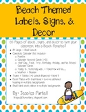 Surf's Up! Surf/Beach Themed Labels, Signs, & Decor