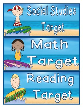 "Beach Themed Learning Targets for ""I Can"" Statements"