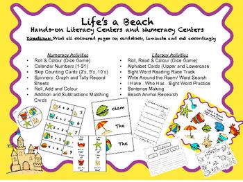 "Beach Themed Literacy and Numeracy Unit for K-2 ""Life's A Beach"""