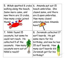 Beach Themed Missing Addend and Subtrahend Word Problems
