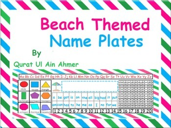 Beach Themed Name Plates With Pink, Green & Blue Stripes: