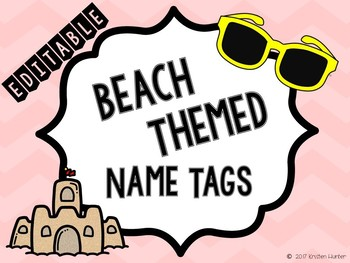 Beach Themed Name Tags EDITABLE