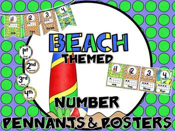 Beach Themed Number Posters & Pennants
