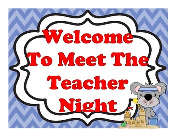Beach Themed Open House, Back To School, Or Meet The Teacher Sign Kit