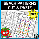 Beach Themed Patterns Cut and Paste Worksheet