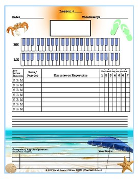 Beach Themed Piano Lessons Assignment Sheet