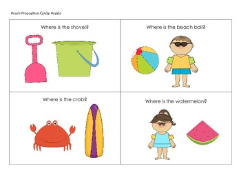 Beach Themed Positional Concepts Cards
