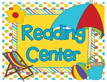 Beach Themed Reading Center Resources for Back to School