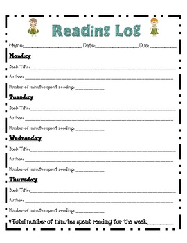 Beach Themed Reading Log