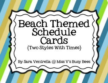 Beach Themed Schedule Cards {2 Styles + Times}