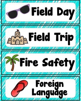 Beach Themed Schedule Cards