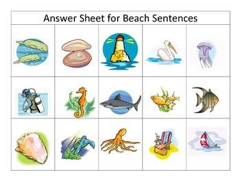 Beach Themed Sentence Comprehension Match Center