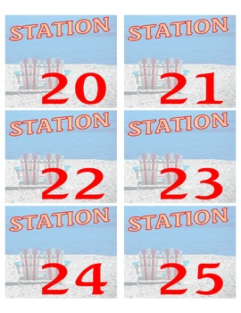 Beach Themed Station Number Cards