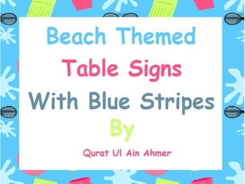 Beach Themed Table Signs with Blue Stripes: