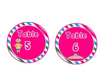 Beach Themed Table Signs with Pink, Green and Blue Stripes: