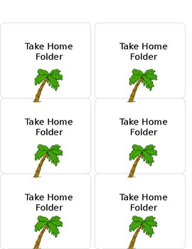 Free Take Home Folder Labels Beach Themed