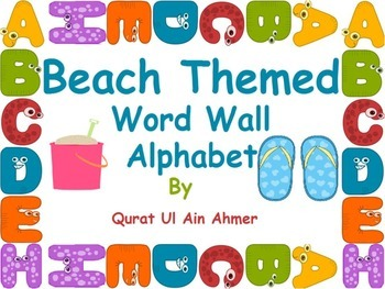 Beach Themed Word Wall Alphabet With Blue Stripes: