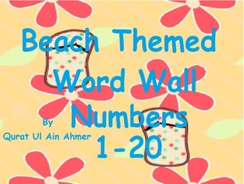 Beach Themed Word Wall Numbers with Blue Stripes 0 to 20: